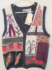 Capacity Ladies Size Large Green Hand Embroidered Farm Design Vest - Nwts
