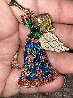 Vintage TC (unsigned) LARGE ANGEL WITH HORN Colorful Enamel Pin Brooch Estate