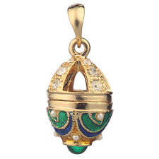 Faberge Egg Pendant / Charm with crystals 2.6 cm green #5501-08