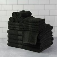 Cotton Bath Towels 18-Piece Towel Set Thick & Plush Hand Bath Towel Black NEW