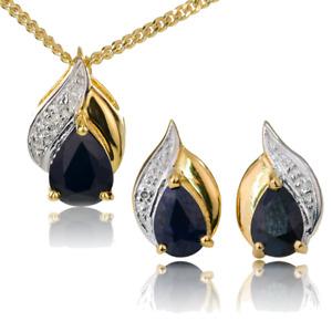 Gold Diamond Sapphire Pendant Stud Earrings Blue 1.75 ct 925  Ojewellery SDSIPRY