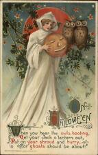 Halloween - Winsch Schmucker Beautiful Witch White Cloak JOL Postcard