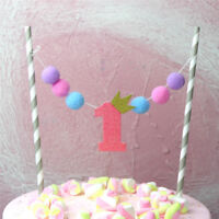 ONE year Pompon Cake Toppers First Birthday Cake Flag Baby Shower Party Decor KI