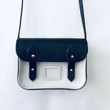 The Cambridge Satchel Company Tiny Mini Small Black White Leather Crossbody Bag