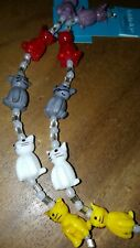 LOT 2 STRANDS GlLASS CAT CATS KITTEN KITTIES charms bracelet 10  pcs