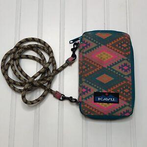 KAVU Go Time Bi-Fold Crossbody Wallet with Rope Strap Triangles