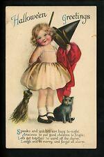 Halloween postcard Wolf 1-3 1of2 Child girl witch black cat fantasy Vintage