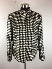 Olsen Womens Blazer 14 Jacket Black White Houndstooth Wool Pockets Lined