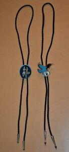 2 Bolo Ties Turquoise Eagle and Siskiyou Square Dancers Teddy Boy Rockabilly