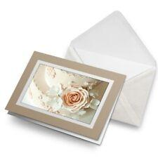 Greetings Card (Biege) - Traditional Wedding Cake Roses  #12358