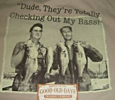 Funny Fishing Dude Tee shirt Large Checking out my Bass Good old Days