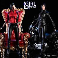 "1/6 Female Women Black Motorcycle Girl Leather Set Skirt Clothing F 12"" Figure"