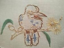 Unique Australian Laughing Kookaburra  Hand Embroidered Doily