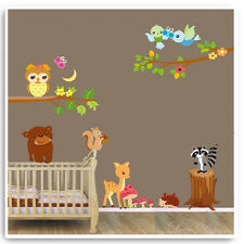 Animal Wall Stickers Owl Jungle Zoo Safari Nursery Baby Bedroom Kids Decals Art