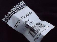 RIVER ISLAND LongBlackSheerFauxSilkFrontButtoningSize6NWoT