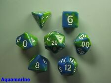 Bescon mini miniature Poly 7 DICE RPG Set Gemini deux tons Icy Track bleu blanc