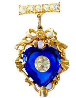 Vintage Gold Tone Blue Glass Heart Dangling Droplet Brooch