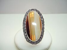AB Big & Bold Botswana Agate Brown Cream Tan Stripe 925P Silver Ring Size 10