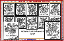 Flower of the Month Quilt Embroidery Transfer Pattern IRON-ON # 697