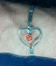 "8"" 925 Heart with Orange Jelly Bean Opal Clasp Bangle"