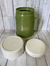 Vintage Thermos Hot Cold Food Soup Flask Green Cream Retro Camper Picnic 0.5L