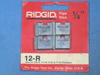 """Genuine RIDGID 1/4"""" Pipe Dies for 12-R 00-R 111-R 0-R 11-R Threaders NOS"""