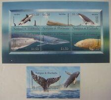 2002 Mnh Antigua & Barbuda Whales Stamps Sheets Killer Minke Sperm Marine Life