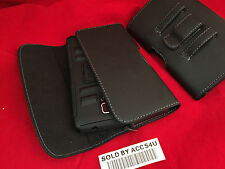 BLACK LEATHER BELT CLIP CASE HOLSTER POUCH FOR SAMSUNG GALAXY ON5 HYBRID ARMOR