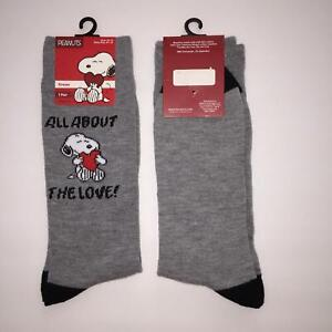 Adult Peanuts Snoopy Valentines All About The Love Crew Socks Size 10-13