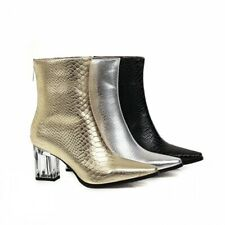 46 47 48 Women Wedding Bridal Square Toe Zip Up Crystal Heel Ankle Boots Punk L