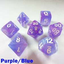Galaxy Poly 7 Dice RPG Set Purple Blue Pathfinder 5e Dungeon Dragon Role Play HD