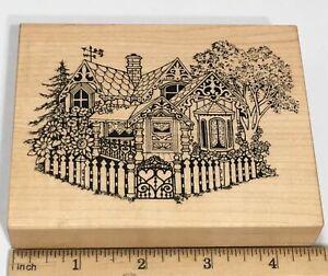 PSX Rubber Stamp Vintage Cottage Summer Spring House