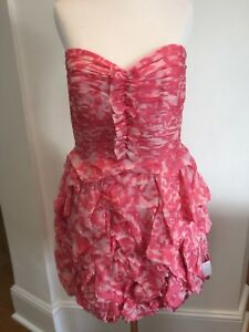 Marchesa Notte Pink Silk Strapless Gown UK10