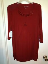 ROAMAN'S RED TUNIC BLOUSE RED GEMS 3/4 SLEEVES, SIZE 18/20 (L) NWT