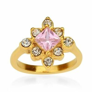 Simulated Pink Sapphire/Austrian Crystal Ring in ION Plated YG Steel - Size 9