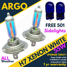 2x H7 55w All Weather White Xenon 12v Dipped Headlight Bulbs + 501 Side lights