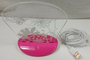 Butterfly Print 3D Illusion Plastic Pink White USB Night Lamp With USB Cable