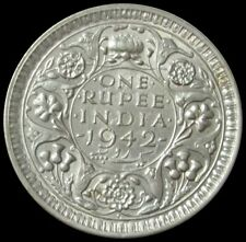 1942 SILVER INDIA BRITISH 1 RUPEE KING GEORGE VI COIN HIGH GRADE CONDITION