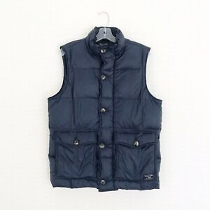 Abercrombie & Fitch Men's Size Medium Navy Down Puffer Vest Cozy Fall No Hood