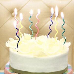 8pcs/set Long curve cake candles mix color birthday wedding party suppliesB.bu