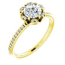 1.21 ct center Round Natural DIAMOND Engagement Solitaire 14K Yellow Gold Ring