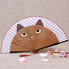 Dot Japanese Silk Bamboo Hand Held Cartoon Cat Kitty Folding Fan Home Party Gift