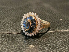 VINTAGE SHINY 14k YELLOW GOLD DIAMOND Blue SAPPHIRE HALO COCKTAIL RING 1.40 CTW