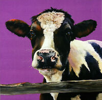 TEX EX ORIGINAL FARMYARD FACES FRIESIAN CALF CUSHION PANEL PURPLE COW DAIRY FARM