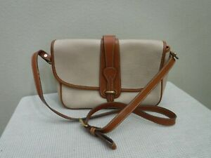 Vtg DOONEY & BOURKE Two Toned Pebbled Leather Crossbody Messenger Handbag Purse