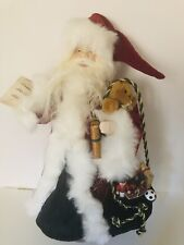 17� Santa Claus in Velvet Robe with toy sack and gifts, Christmas Tree Topper