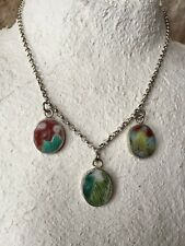 """Chinese Ching Dynasty Shard Pottery Necklace Pendant Sterling Silver Chain 16"""""""