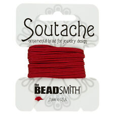 Beadsmith Soutache Rayon Cord 3mm Wide Red - 3 yards (F32/9)