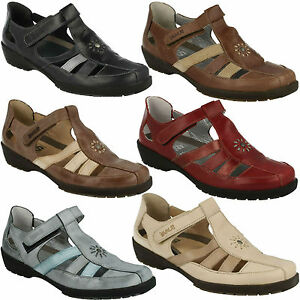 JUDY LADIES T BAR CLOSED TOE RIPTAPE STRAP LEATHER WEDGE HEEL SUMMER SHOES SUAVE