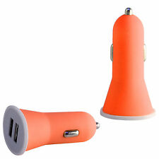 High Quality Orange 2.1 AMP Rapid Double Speed Dual Universal Car Charger Mobile